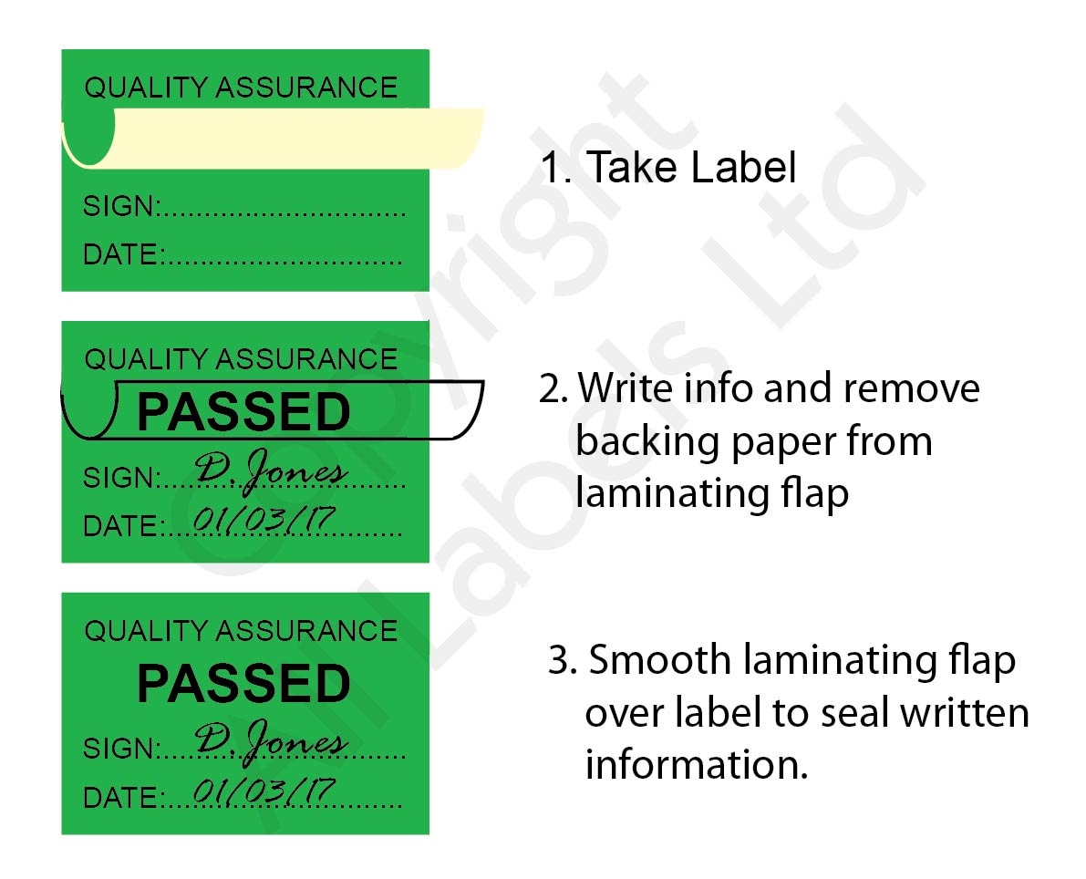Quality Assurance Labels - Self Laminating