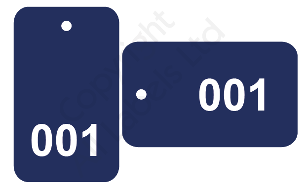 Sequentially Numbered Plastic Tags 125mm x 75mm