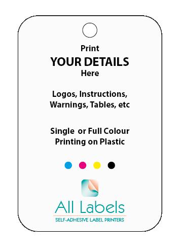 Printed Plastic Tags 100mm x 50mm