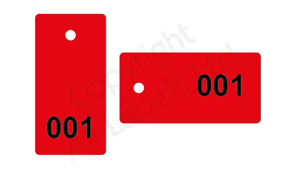 Sequentially Numbered Plastic Tags 100mm x 50mm