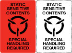 Static Sensitive Contents Shipping Labels.