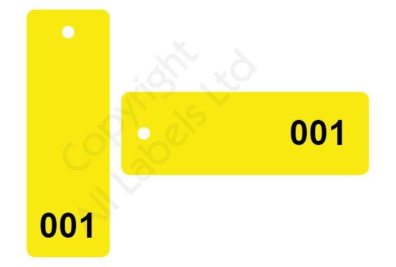 Sequentially Numbered Plastic Tags 150mm x 50mm