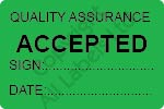 Quality Assurance Accepted Labels - Self Laminating