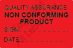 Quality Assurance Non Conforming Product Labels