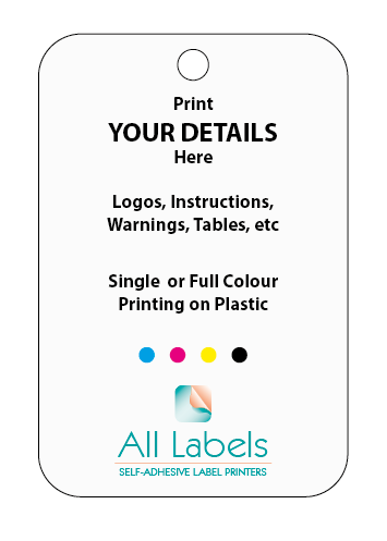 Printed Plastic Tags 100mm x 50mm