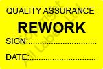 Quality Assurance Rework Labels - Self Laminating