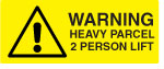 Two Person Lift Weight Warning Labels.