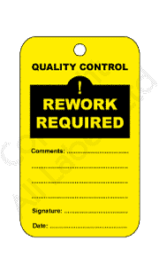 Rework Required Quality Control Tags