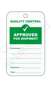 Approved For Shipment Quality Control Tags