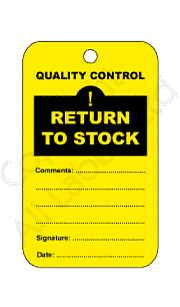 Return To Stock Quality Control Tags