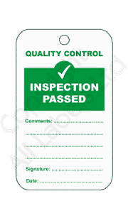 Inspection Passed Quality Control Tags